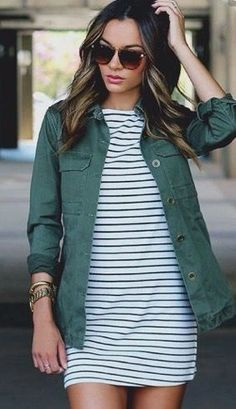 Stitch Fix Fashion 2017! Ask your stylist for something like this in your next fix, delivered right to your door! #sponsored #StitchFix Striped white dress and green cargo jacket