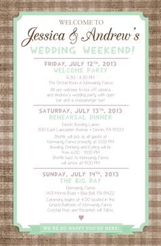 Country Chic Wedding Weekend Itinerary! By Paper & Lace www.facebook.com/paperandlacecreations
