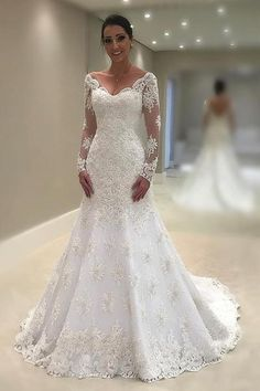 Wedding Dress Lace, Modest Tulle V-neck Neckline Mermaid Wedding Dresses With Beaded Lace Appliques, Unique and inexpensive wedding gowns that wow! Shop our wedding dresses online and in-store for top styles and trendy bridal looks. White Lace Wedding Dress, Wedding Dress Train, Applique Wedding Dress, Wedding Dress Sleeves, Elegant Wedding Dress, Cheap Wedding Dress, Bridal Lace, Bridal Gowns, Wedding Dresses