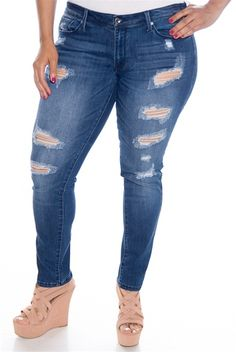 fea87dcdd53 Rip Ahead Plus Size Shredded Jeans - D Blue from Kancan USA at Lucky 21
