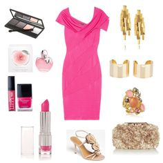 Pretty pink Donna Karan dress shines in this entry for the From Tomboy to Girly Girl fashion contest #style