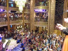 the atrium lobby on the see ya real soon party (last night) on the disney fantasy cruise ship.
