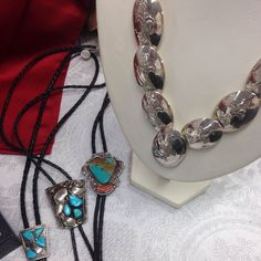 Southwest neckwear for him and her, vintage turquoise bolos for him and amazing sterling reversible concho necklace for her -- free shipping until 12/31/16 -- use coupon at checkout: FREEHOLIDAYSHIP