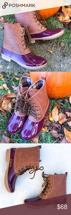 """Wine Burgundy Duck Boots These gorgeous wine and brown duck boots are perfect for those snowy and rainy Winter days! Waterproof rubber base and sole with a lace up front. Heel Height: 1"""" . Search: rain boot, red duck boots, red boots, snow boot. Runs true to size. *PLEASE DON'T USE MY PHOTOS TO RESELL  ▫️Add to Bundle"""" to add more items in my closet or """"Buy"""" to checkout here with your size.  ↓Follow me on Instagram ↓         @ love.jen.marie  📷YouTube: http://youtu.be/HyJJZVz3gUI   Please…"""