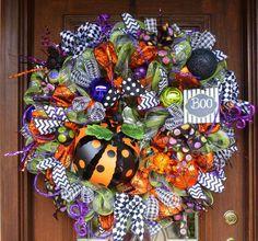 30 Deco Mesh POLKA DOT PUMPKIN Wreath Ready to Ship by decoglitz