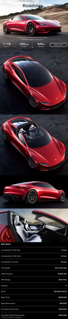 An all-electric vehicle, the Tesla Roadster is the quickest car in the world, with record-setting acceleration, range and performance. Tesla Roadster, Creative Advertising, Tesla Spacex, Hybrids And Electric Cars, Sports Cars Lamborghini, Tesla Motors, Top Cars, Latest Cars, Future Car