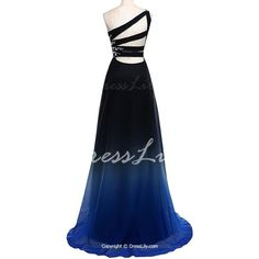 Love this backline!>>Noble Rhinestone Design One-Shoulder Ombre Color Pleated Prom Dress For Women