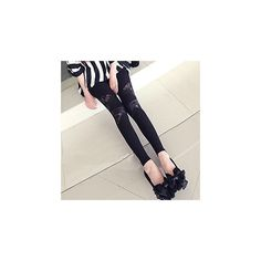 Lace Panel Leggings ($8.90) ❤ liked on Polyvore featuring pants, leggings, women, legging pants and lace panel leggings