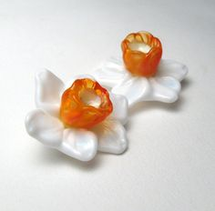 DAFFODILS Narcissus Jonquil in White Yellow by SerenaSmithLampwork, $18.00