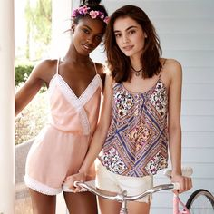 Left) H&M Hair Decoration with Flowers and Jumpsuit with Lace (Right) H&M Camisole Top with Buttons and Denim Shorts High Waist