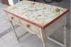 Beautiful Hand Painted Desk!!: Antiques Realism Acrylic Wood  Animal   Sandra Woods