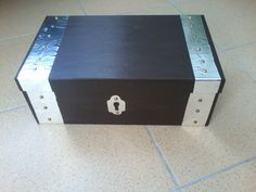 Shoe box treasure chest. Made with paint and tin foil paper.
