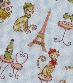 Cats journey in Paris cotton fabric 9.50 a yard
