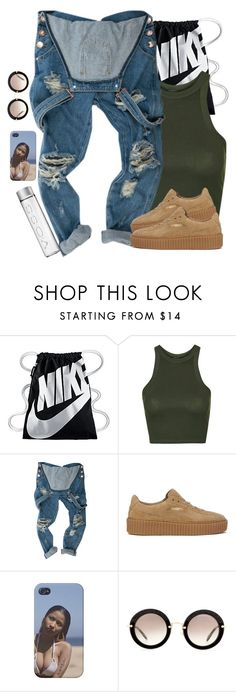 """-smacks yo greasy ahhs neck SYAU"" by iheyitspriyah ❤ liked on Polyvore featuring NIKE, Topshop, Puma and Miu Miu"