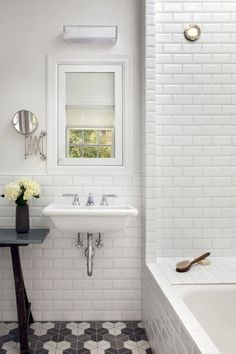 simple, clean lines bathroom, white subway tile