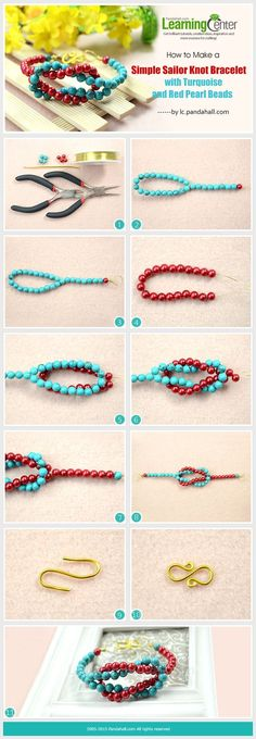 How to Make a Simple Sailor Knot Bracelet with Turquoise and Red Pearl Beads