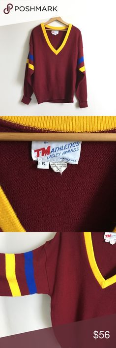 Vintage Varsity Deep V-neck Sweater No trades! Good condition! True vintage so some signs of wear. Size men's small, so fits oversized! Maroon burgundy with yellow and blue stripes in the sleeves. 100% Orion. Vintage Sweaters V-Necks