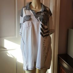 Men's X X  large shirt Men's white and gray shirt perfect condition INC International Concepts Tops Tees - Short Sleeve