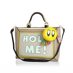Beige hold me print fun slogan bag