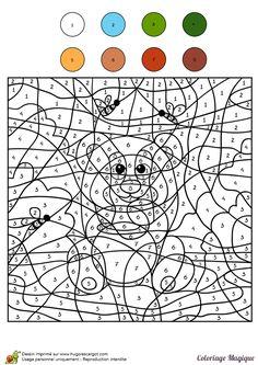 Derrière les numéros à colorier, un ours en peluche avec son pot de miel est à découvrir