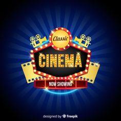 Fundo da película de filme no estilo abstrato   Baixar vetores grátis Design Show, Game Design, Free Vector Images, Vector Free, Movie Poster Template, Neon Words, Cinema, Retro Ads, Game Logo