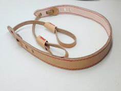 personalised,leather camera strap,natural, hand stitched red, canon strap by…