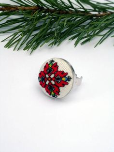 Items similar to Bulgarian Ring Boho style jewelry art Ethnic embroidery red geometric ring Red and white Ring Bulgarian folk art jewelry tribal ring on Etsy Jewelry Art, Unique Jewelry, Bulgarian, Ethnic, Wedding Decorations, Cross Stitch, Colorful, Embroidery, Handmade Gifts