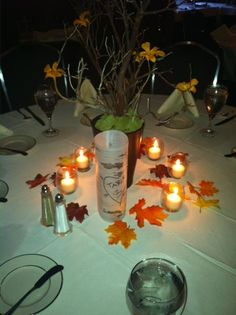 candles & vellum birch table number