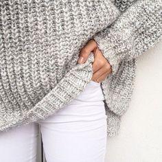 White & gray. Winter fashion. Fashion 2016. Sweater, cardigan. Jeans, denim.