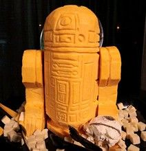 Cheddar R2D2!  IT'S LIKE MY TWO MOST FAVORITE THINGS EVER-CHEESE AND STAR WARS!!!  I'm gonna need one of these eventually.