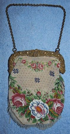Beaded Floral Design Purse - Beaded Fringe - Clasp in good shape - Unm... Lot 61
