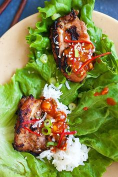 Korean BBQ Chicken (Dak Gogi) - juicy and delicious BBQ chicken served with an amazing Korean spicy dipping sauce. Serve with rice and lettuce leaves | rasamalaysia.com