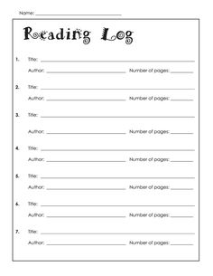Reading Log Template   Projects To Try In Library