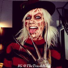 Freddy Krueger makeup Cosplay halloween costume.