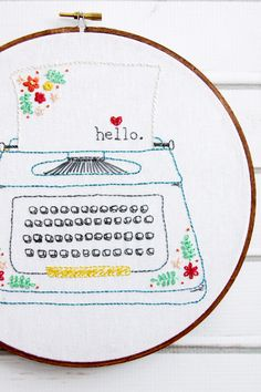 Retro Floral Typewriter Embroidery Pattern - this is so cute!