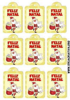 Etiquetas natalinas Papai Noel.