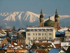 Gorgeous Sibiu in Romania - in Winter, with Carpatian mountains