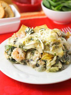 Seafood Lasagna  with mushrooms, spinach, feta, parsley and basil.  YUM!!