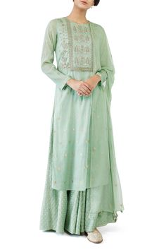 Shop Anita Dongre Sage green kurta with palazzo & dupatta , Exclusive Indian Designer Latest Collections Available at Aza Fashions Green Suit Women, Suits For Women, Clothes For Women, Indian Wedding Outfits, Indian Outfits, Ethnic Outfits, Indian Attire, Indian Wear, Indian Style