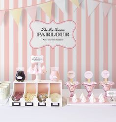 "DIY Ice-Cream Parlour ""Make your own Sundaes"" Buffet Concept for a Wedding or Party"