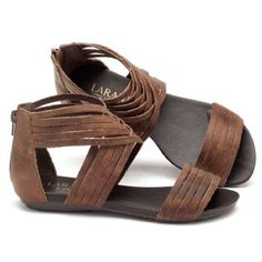 Rasteira Flat marrom em couro 137005 | Laranja Lima Shoes