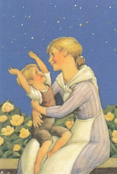 Rudolf Koivu - Moeder en kind - Vintage Book Art, Vintage Cards, Children's Book Illustration, Mother And Child, Koi, Finland, Illustrations Posters, Illustrators, Cool Pictures