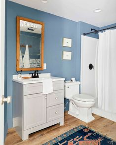 Budget Basement Bathroom - The One Where We Tried To Not Spend Money... (And Now You Know Why) - Emily Henderson #budgetbathroom #bathroomreno #beforeandafter Man Bathroom, Budget Bathroom, Basement Bathroom, Bathroom Fixtures, Bathroom Ideas, Bathrooms, White Baseboards, Home Renovation, Home Remodeling