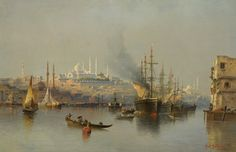 Constantinople by Karl Kaufmann Istanbul, Turkish Art, Ottoman Empire, Ship Art, Environmental Art, Old Master, Art Auction, Art And Architecture, Installation Art