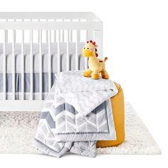 Circo 4pc Crib Bedding Set - Grey Chevron, Gray Foggy Day/White