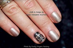 Gelish Gold and Black Lace nails by FUNKY FINGERS FACTORY