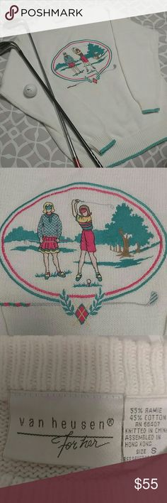 Vintage Van Heusen for her Golf Sweater Small Vintage Van Heusen for HER golf knit sweater.  Cutest sweater!  White sweater with embroidery/patchwork??  is excellent shape!  No snags/pulls!  This would be a perfect gift for that lady golfer!!  ⛳ Note:. Any pickish hue u see is my cell camera!  It's needing replaced.  This sweater is WHITE! Van Heusen Sweaters Crew & Scoop Necks
