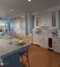 Rutt Regency ~ Pacifica Inset ~ Perimeter: White Paint  ~ Island: Bayou Blue Paint ~ Grey Antiqued Glaze ~ Photo: Peter Leach Photography ~ Design: Giorgi Kitchens & Designs