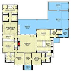 like master bath/closets Exclusive Southern House Plan with Outdoor Living - floor plan - Main Level Southern House Plans, New House Plans, House Floor Plans, Metal Building Homes, Building Plans, Building A House, Building Ideas, Adirondack Furniture, Outdoor Kitchen Design