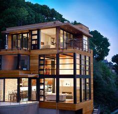 American Woodmark   Bridgeway Cliff House   Sausalito, CA #futuristic_house #house http://pinterest.com/nexityitalia/back-to-the-future/ www.nexityresidenziale.it